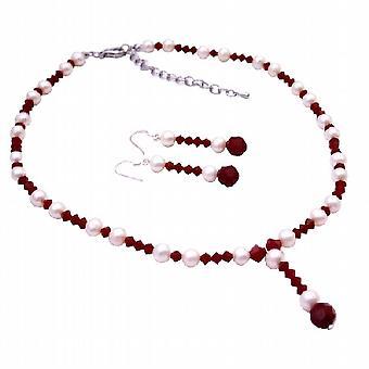 اللؤلؤ الأبيض سواروفسكي مجوهرات الزفاف & أقراط قلادة كريستال أحمر