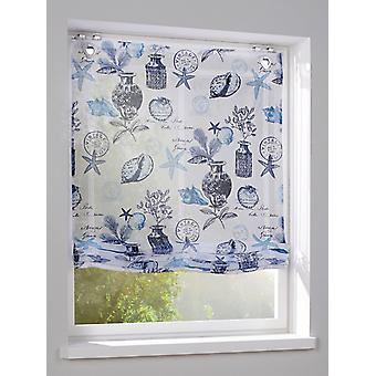 Heine home Roman shade Maritim blue patterned fabric with hook and eye closure incl. accessories