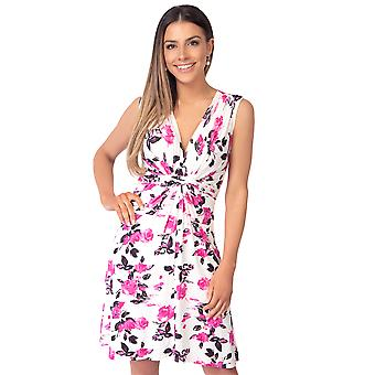 KRISP Womens Floral Mini Dress V Neck Knot Front Pleated Ruched Sleeveless