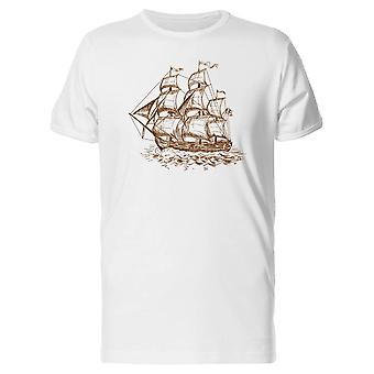 ビンテージ帆船ペン スタイル t シャツ メンズ-シャッターによる画像