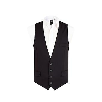 Dobell Mens Black Waistcoat Slim Fit 4 Button
