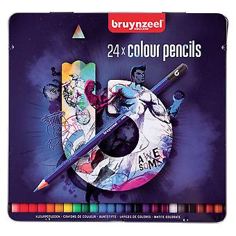 Bruynzeel 24 Colour Pencils Tin (Dark Set)