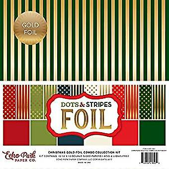 Echo Park Paper Company Christmas Gold Foil Dots & Stripes 12x12 Inch Combo Collection Kit (DSF17057)