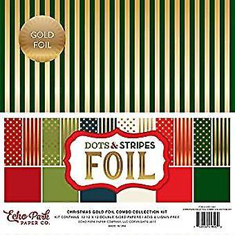 ECHO Park papir selskab jul guld folie prikker og striber 12 x 12 Inch Combo samling sæt (DSF17057)