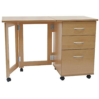 Flipp - 3 cassetto pieghevole ufficio deposito deposito scrivania / Workstation - faggio