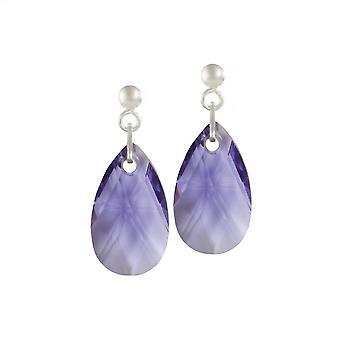 Eternal Collection Brilliance Tanzanite Peardrop Crystal Sterling Silver Drop Pierced Earrings