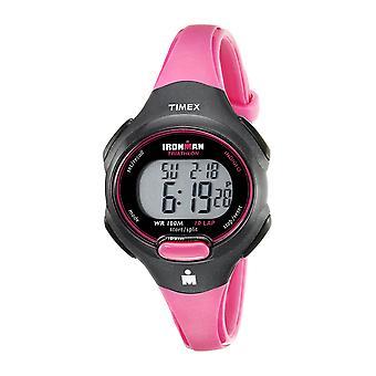 Timex Womens Ironman essentiële 10 mid-size roze/zwart hars Strap Watch T5K525