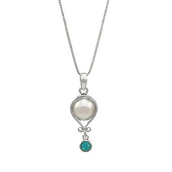 Eternal Collection December Turquoise And Pearl Sterling Silver Birthstone Pendant