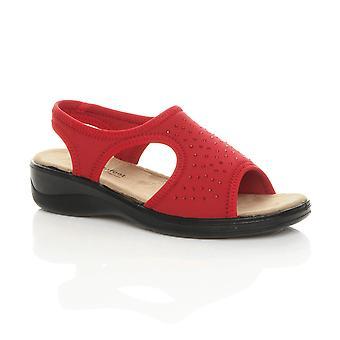 Ajvani kvinner lav hæl t-bar slingback Diamante komfort sandaler sko
