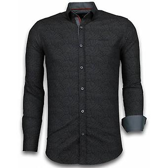 E Shirts - Slim Fit - Dotted Leaves Pattern - Black