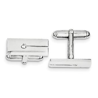 925 Sterling Silver Solid Polished CZ Cubic Zirconia Simulated Diamond Rectangle Cuff Links Jewelry Gifts for Men