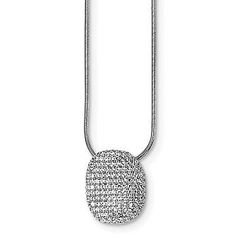 925 Sterling Silver Pave Rhodium plated Lobster Claw Closure and CZ Cubic Zirconia Simulated Diamond Polished Necklace 1