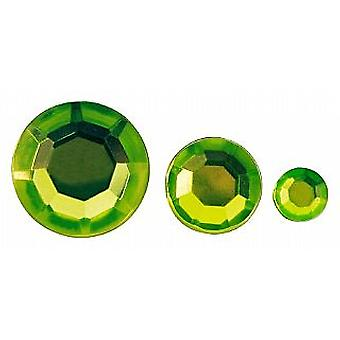 310 Assorted Lime Green Round Shaped Acrylic Rhinestones for Crafts