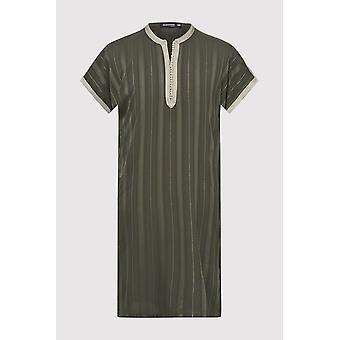 Gandoura haroun boy's kurzarm kragenlose lange Robe thobe in khaki (2-12yrs)