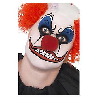 Klovn Make-Up Kit, inkluderer Facepaint, næse, farveblyanter og svamp Fancy kjole tilbehør