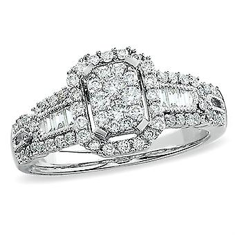 Dazzlingrock Collection 1.00 Carat (ctw) 14K Round & Baguette Cut Diamond Engagement Bridal Ring 1 CT, White Gold