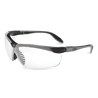 Uvex Genesis Safety Glasses, Black, Clear Lens, Anti-Scratch, Adv. #S3200-ADV