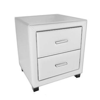 Dorset 2 Drawer Bedside Cabinet - Faux Leather - White