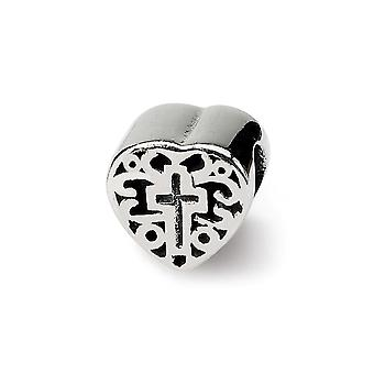 925 Sterling Silver afwerking Reflections Kids Love Heart With Religious Faith Cross and Scroll Bead Charm Hanger Ketting