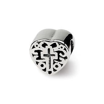 925 Sterling Silver finish Reflektioner Kids Love Heart med religiös tro Cross och Bläddra Pärla Charm Hängande Halsband
