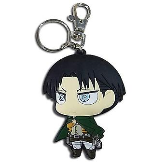 Key Chain - Attack On Titan - Sd Levi Dedicate Stance PVC New ge85397