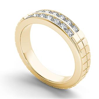 IGI Certified Solid 14k Yellow Gold 0.75 Ct Diamond Men's Wedding Band Ring