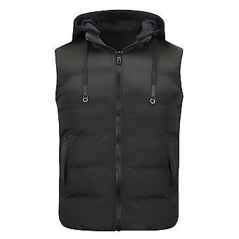Allthemen Men 's Casual Aadded Cotton Removable Hood Solid Waistcoat Vest Allthemen Men 's Casual Aadded Cotton Removable Hood Colete Sólido Colete Colete