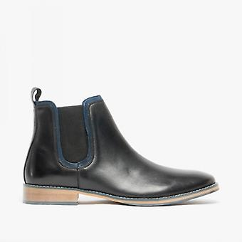 Front Stanford Mens Leather Chelsea Boots Black