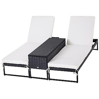 3-Pcs Rattan Sun Lounger Table Set PP Wicker w/ Adjustable Back Padded Cushion Chaise Lounge Oudoor Patio Garden Balcony Chair with Cushions Set Black Cream White