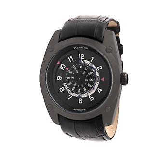 Heritor Automatic Daniels Semi-Skeleton Leather-Band Watch - Black