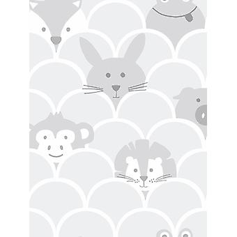 Over de Rainbow Peek een Boo Dieren Wallpaper Grey Holden 91030