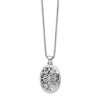 White Ice Diamond Locket Necklace 18 Inch Jewelry Gifts for Women - .010 dwt