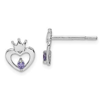 925 Sterling Silver Madi K Rh Plated Purple CZ Cubic Zirconia Simulated Diamond Crown Post Earrings Jewelry Gifts for Wo