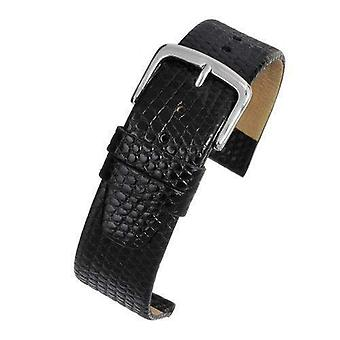 Lizard grain calf leather watch strap black high grade size 8mm to 20mm