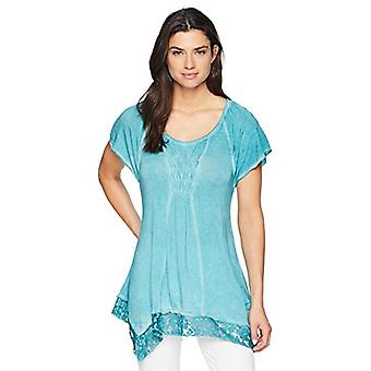OneWorld Women's Short Sleeve Oil Wash Lace Trim Top,, Teacup, Size Small