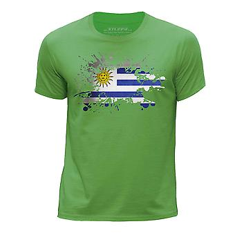 STUFF4 Boy's Round Neck T-Shirt/Uruguay/Uruguayan Flag Splat/Green