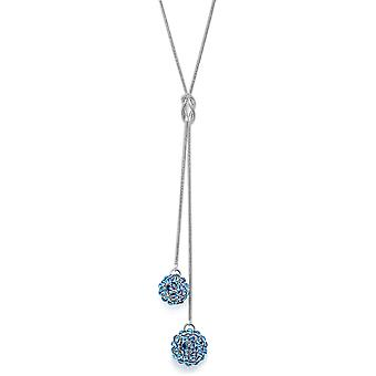 Aquamarine Crystal Mesh Ball Pendant Necklace PMB112.1