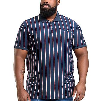 Duke D555 Mens Martel Big Tall King Size Striped Cotton Polo Shirt Top - Navy