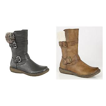 Cats Eyes Womens/Ladies Twin Buckle Mid Calf Boots