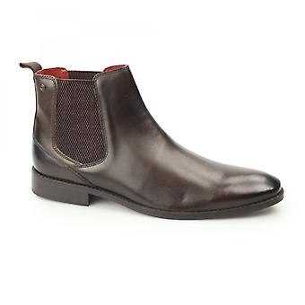 Base London Cheshire Mens Washed Leather Chelsea Boots Brown