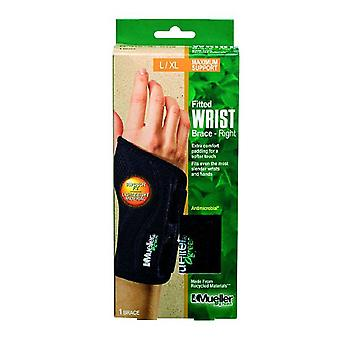 Mueller green fitted right wrist brace, large/extra large, 1 ea