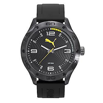 Cougar Time Asphalt wrist watch, analog, Yellow plastic band (Gun/Yellow)