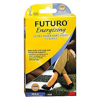 Futuro energizing ultra sheer knee highs, mild, nude, large, 1 pair