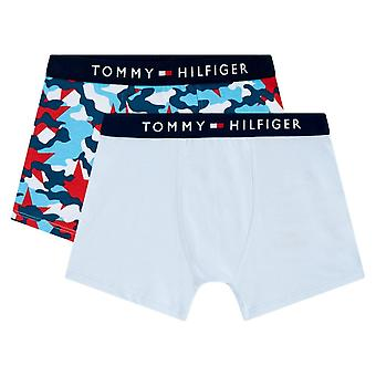 Tommy Hilfiger Boys 2 Pack Tommy Original Cotton Trunks - Tango Red/Halogen Blue