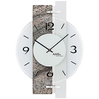 AMS 9558 wall clock kvartsi analoginen hopea luonnonkiveä näyttää teräsbetonia ja