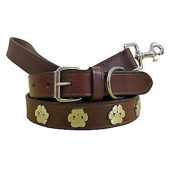 Bradley crompton véritable cuir correspondant collier de chien paire et lead set bcdc8maroon