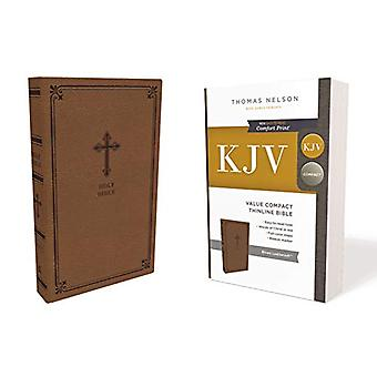 KJV - Value Thinline Bible - Compact - Leathersoft - Brown - Red Lett