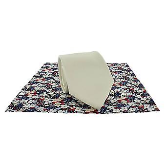 Michelsons Londyn zwykły krawat i kontrast kwiatowy placu kieszeni zestaw - krem