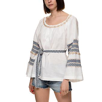 Aggel Knitwear Women's Linen Blouse With Belt