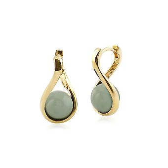 Kosmos Round Ball Shaped Dyed Green Jade Earrings in Rhodium Plated Sterling Silver T0753E90H6